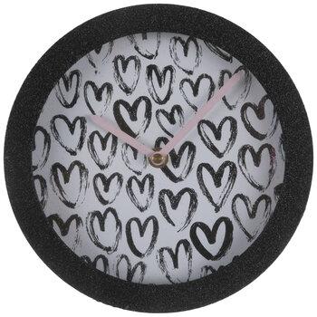 Black Heart Glitter Wood Clock