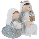 White & Blue Glitter Holy Family