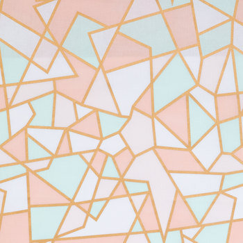 Pastel & Gold Geometric Apparel Fabric