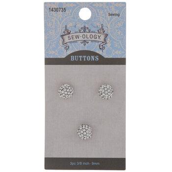 Rhinestone Ball Shank Buttons - 9mm