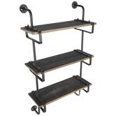 Three-Tiered Industrial Wood Wall Shelf