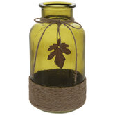Green Glass Bottle With Jute