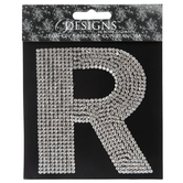 Rhinestone Letter Iron-On Applique - R