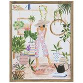Girl With Plants Wood Wall Decor