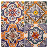 Orange Medallion Tile Adhesive Wall Art
