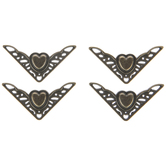 Antique Bronze Plated Heart Corners