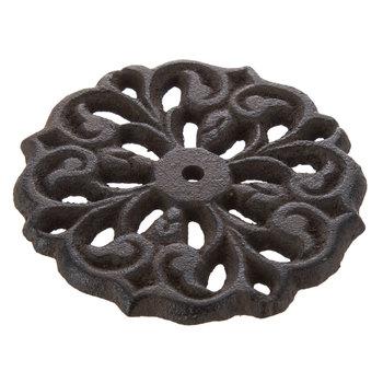 Round Brown Cast Iron Swirl Knob Base