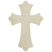 Scalloped Baltic Birch Wood Wall Cross - 8""