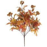 Orange & Green Leaves With Berries Bush