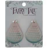 Blue Mermaid Scale Leather Teardrop Pendants