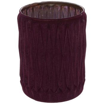 Dark Red Flocked Geometric Glass Jar