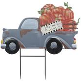 Pumpkin Truck Metal Garden Stake