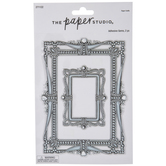 Silver Ornate Rectangle Frame Stickers