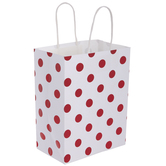 White & Metallic Red Polka Dot Gift Bags