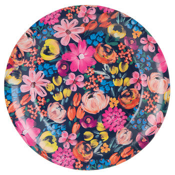Navy Floral Paper Plates