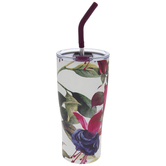 Pink & Purple Floral Cup With Straw
