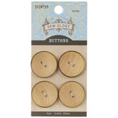 Brown Edge Round Wood Buttons - 23mm