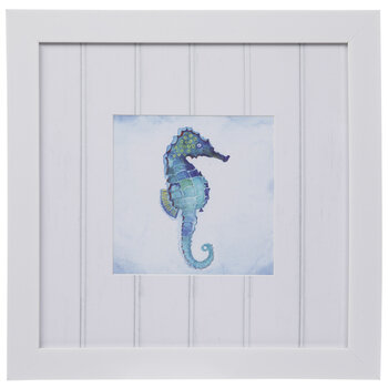 Blue Watercolor Seahorse Framed Wood Wall Decor