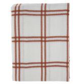 White & Orange Windowpane Tablecloth