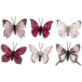 Pink Glitter Butterfly Clip Ornaments