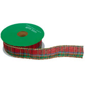 Red Plaid Wired Edge Ribbon - 7/8""