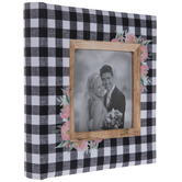 "Black & White Buffalo Check Floral Scrapbook Album - 6"" x 4"""