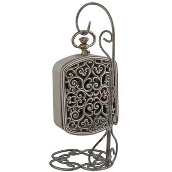 Silver Distressed Metal Clock With Stand