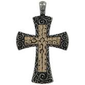 Hammered Metal Filigree Cross Pendant