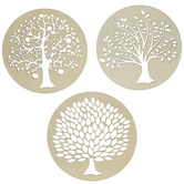 Round Wood Discs With Laser Engraved Trees