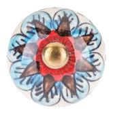Blue & Red Round Flower Knob