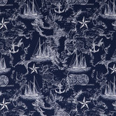 Navy Nautical Map Cotton Apparel Fabric