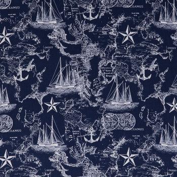 Navy Nautical Map Cotton Apparel Fabric