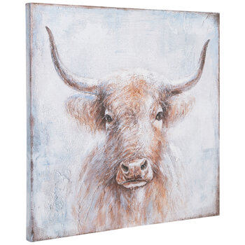 Brown & Blue Yak Canvas Wall Decor