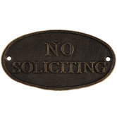 No Soliciting Metal Plaque