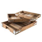 Wood Slat Tray Set
