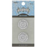 Silver Rhinestone Flower Shank Buttons - 22mm