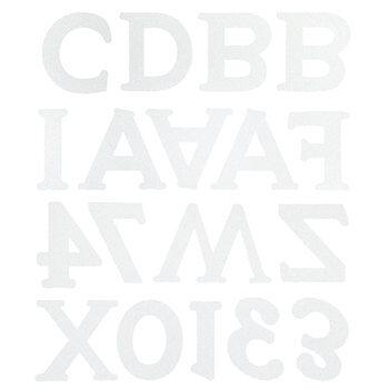 White Glitter Monster Uppercase Alphabet Stickers