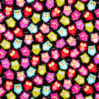 Bright Owls Cotton Calico Fabric