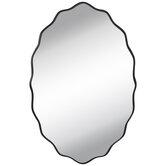 Black Scalloped Edge Wood Wall Mirror