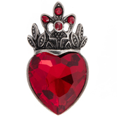 Red Rhinestone Heart Pendant With Crown