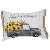 Market Flowers Truck Pillow