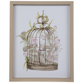 Floral Birdcage Wood Wall Decor