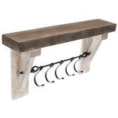White Rustic Wood Wall Shelf With Hooks