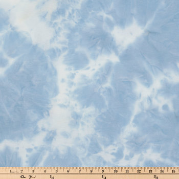 Blue & White Bleach Dye Span Knit Fabric