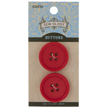 Red Round Buttons - 28mm