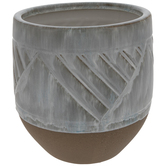 Distressed White & Brown Geometric Flower Pot