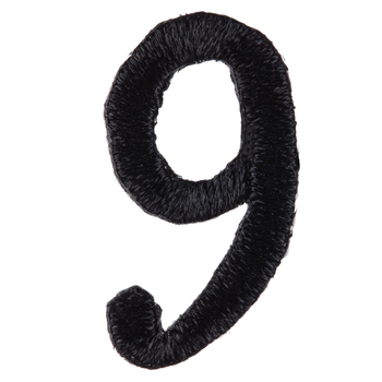 Black Number Iron-On Applique 9 - Small