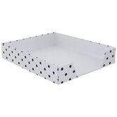 White & Black Polka Dot Desk Tray