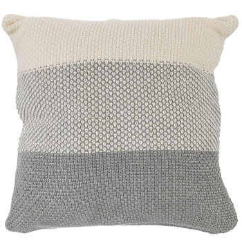 Gray & Cream Knitted Pillow Cover