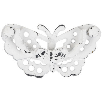 White Distressed Metal Butterfly Pull